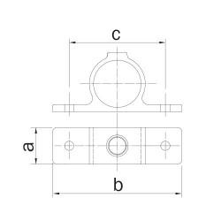 Buiskoppeling Ø26,9 - Dubbele bevestigingslip 180° uitwendig Zwart