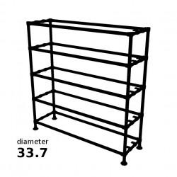 Zwarte Steigerbuis Kast met 5 etages - Buisdiameter Ø33.7