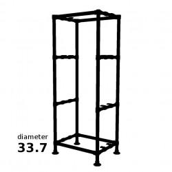 Zwarte Steigerbuis Kolom Kast met 4 etages - Buisdiameter Ø33.7