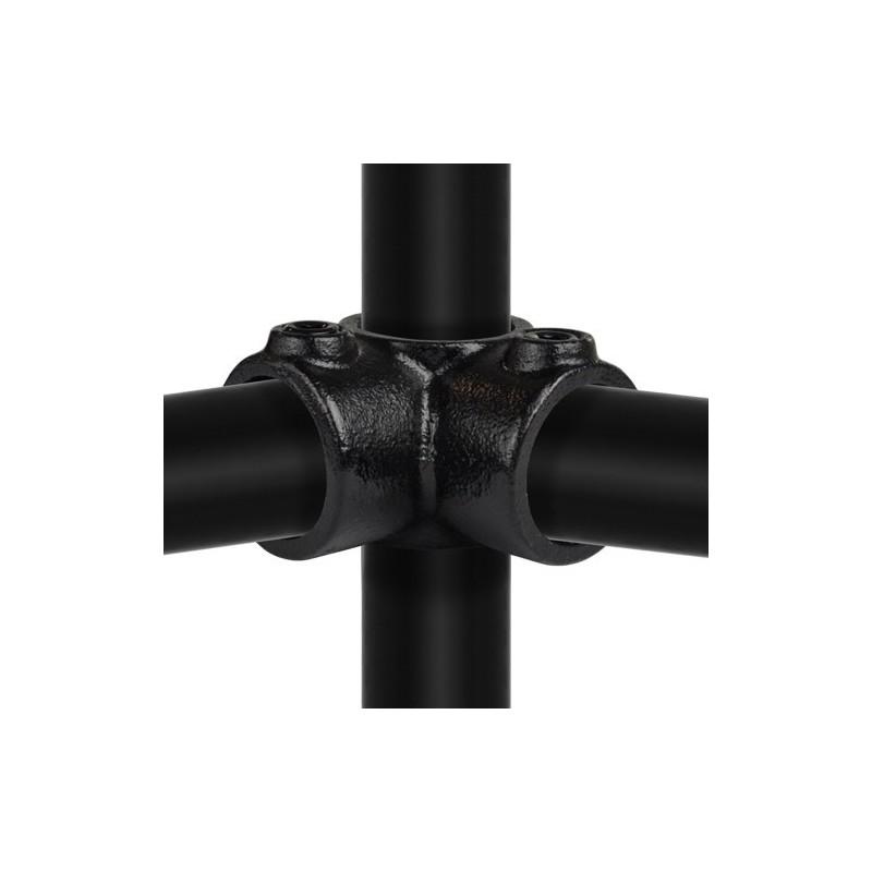 Buiskoppeling Ø33,7 - Hoekstuk doorlopende staander 90° Zwart