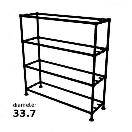 Zwarte Steigerbuis Kast met 4 etages - 33.7