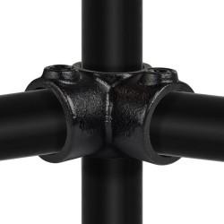 Buiskoppeling Ø42,4 - Hoekstuk doorlopende staander 90° Zwart